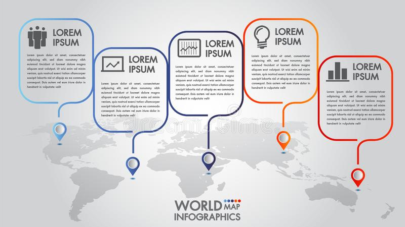 World map business infographics 5 step options vector illustration and design template with pointer marks. vector illustration