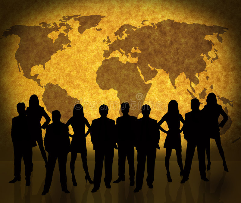 World map and business people vector illustration