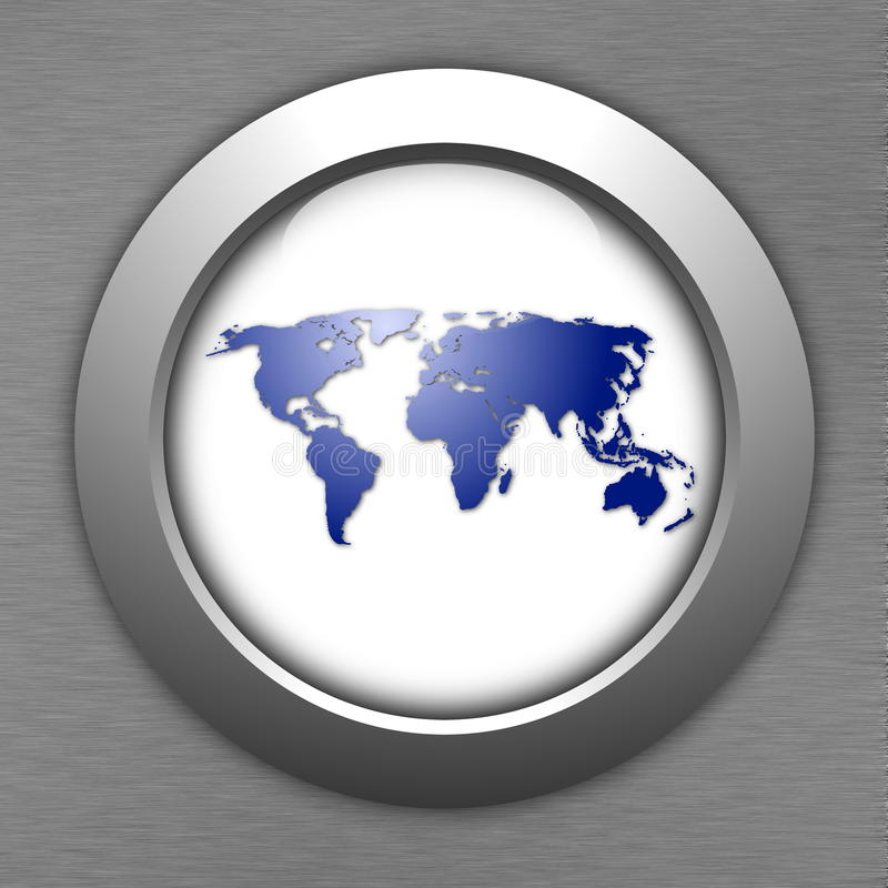 World map button. For internet web site vector illustration