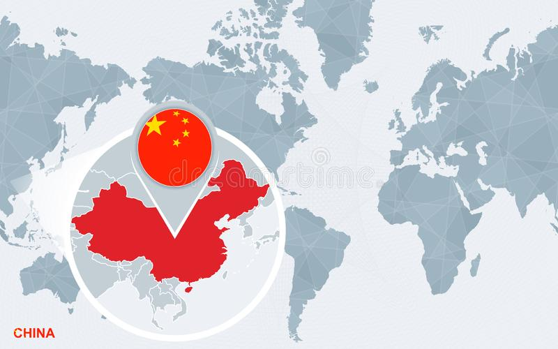 World map centered on America with magnified China stock illustration