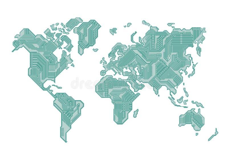 World Map Circuit Board Design stock illustration