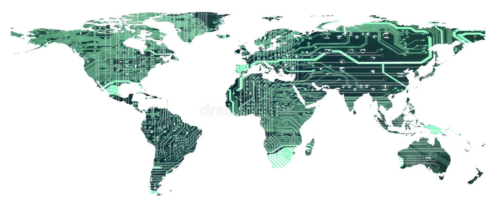 World map with circuit board pattern isolated vector illustration