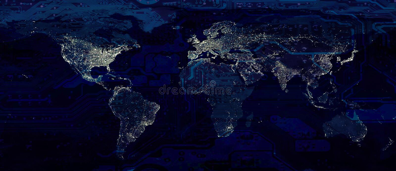 World map city lights and dark motherboard royalty free stock images
