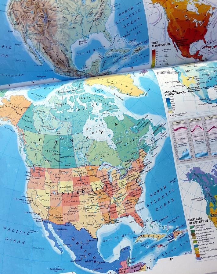 World Map. Close up of a detailed world map stock photos