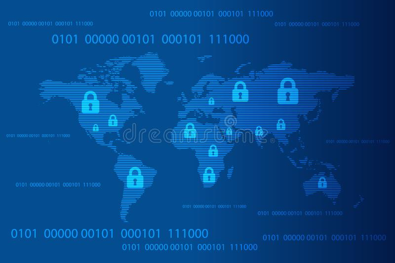 World map with closed pad lock and binary code background, Cyber Security Concept. Vector Illustration royalty free illustration