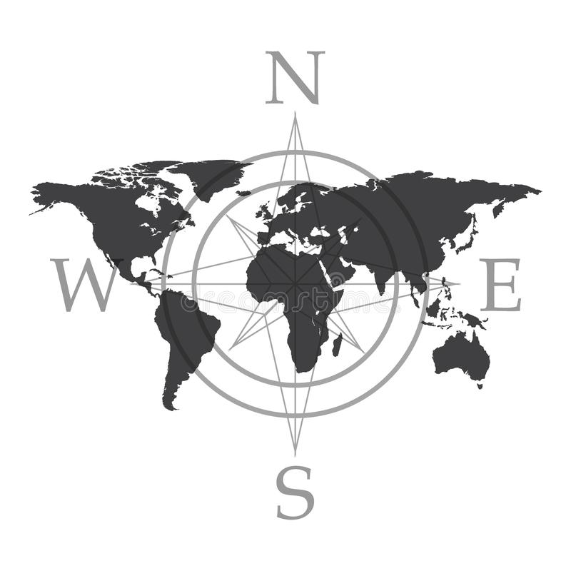 World map and cmpass or rose of winds vector illustration