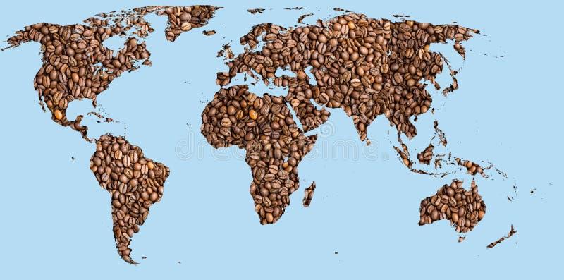 World map coffee stock image