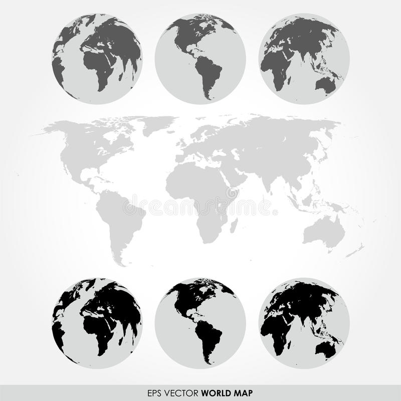 World map collection with flat detailed world map vector illustration