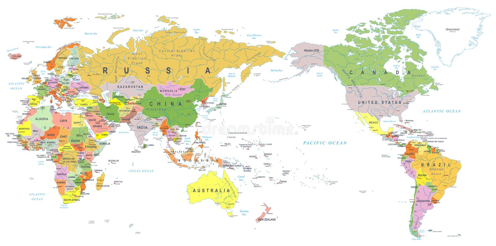 download world map color asia in center stock illustration illustration of korea africa