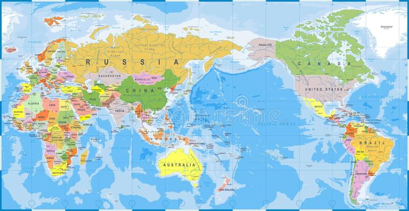 World map color detailed asia in center stock illustration download world map color detailed asia in center stock illustration illustration of australia gumiabroncs Choice Image
