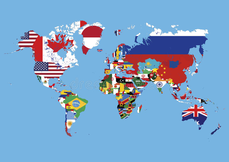 World Map Colored In Countries Flags No Names Stock Illustration