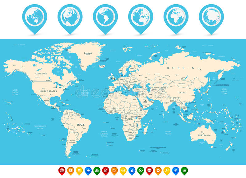 World map and colored map pointers stock vector illustration of download world map and colored map pointers stock vector illustration of middle germany gumiabroncs Images