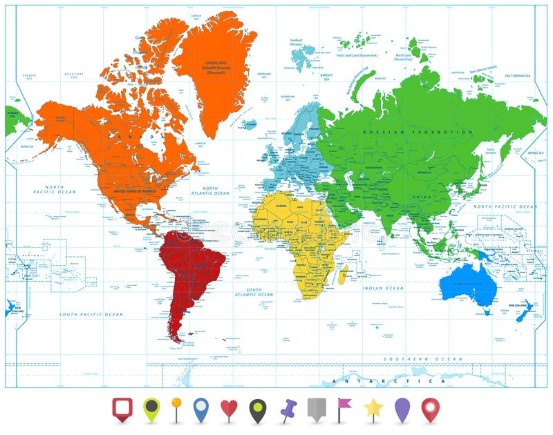 World map with colorful continents and flat map pointers isolate download world map with colorful continents and flat map pointers isolate stock vector illustration of gumiabroncs Images