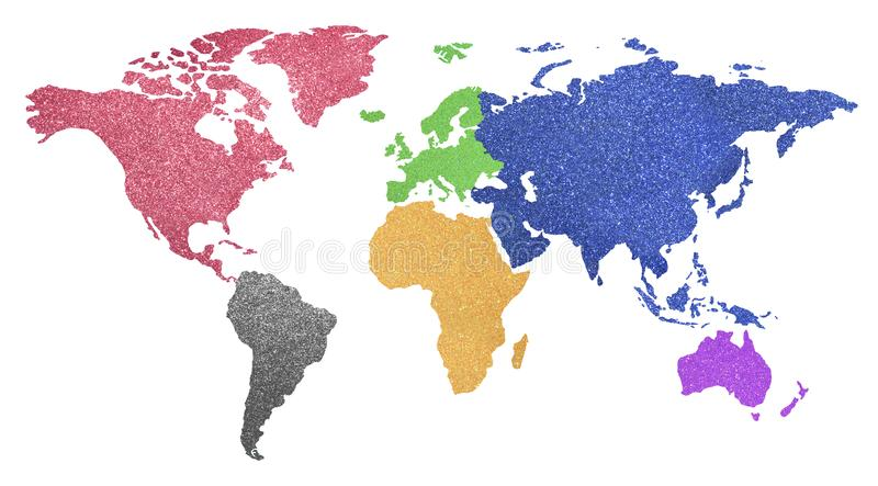World map with colorful continents with shimmering glittery back. Big world map with colorful continents with shimmering glittery background on white stock illustration