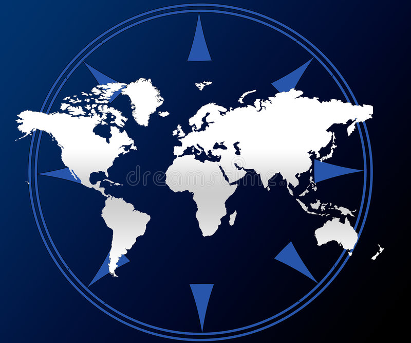 World map and compass vector illustration