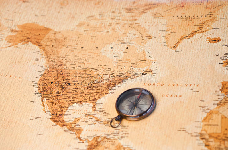 Download World Map With Compass Showing North America Stock Photo - Image: 19125810