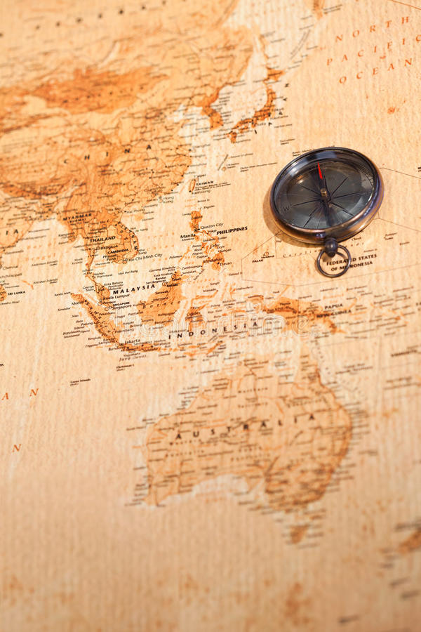 World map with compass showing Oceania. Old world map with compass showing Oceania royalty free stock photography