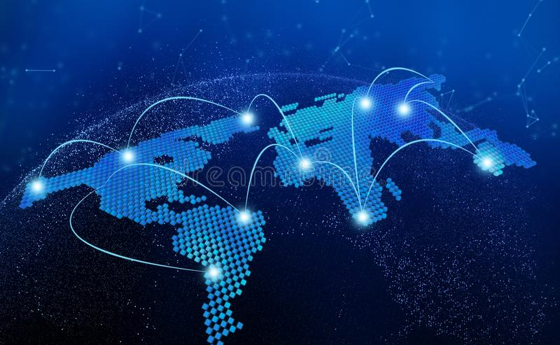 World map, connection lines in technology concept, 3d render of stock illustration