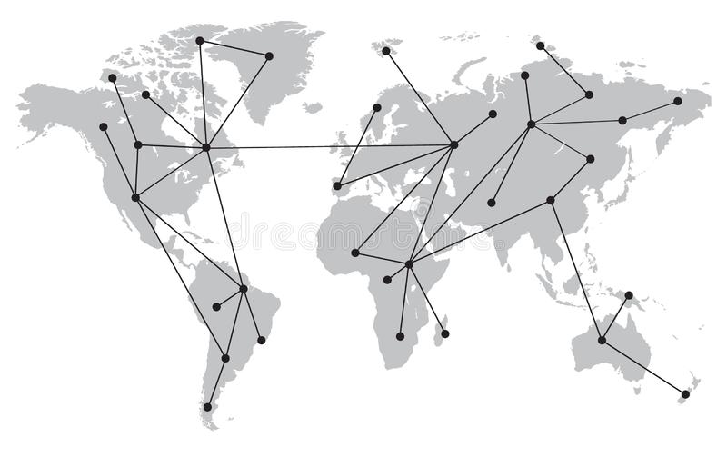 World Map With Connections, Points and Lines. Gray and Black. Simple Design vector illustration