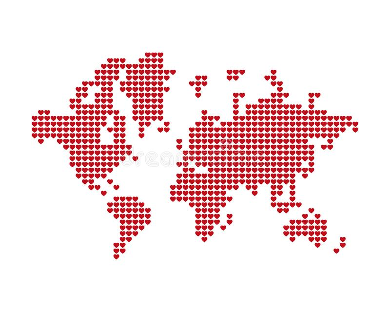 The world map consists of red hearts. A concept on health, love and social networks. Flat illustration EPS 10 vector illustration