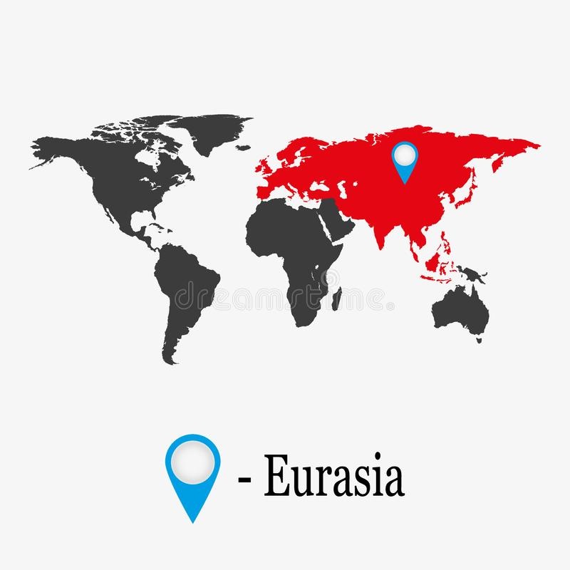 World Map with continent Eurasia. vector illustration