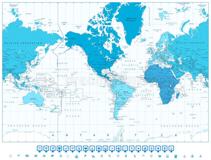 World map continents in colors of blue america in center stock world map continents in colors of blue america in center and navigation icon set highly detailed illustration of world map with america in center gumiabroncs Image collections