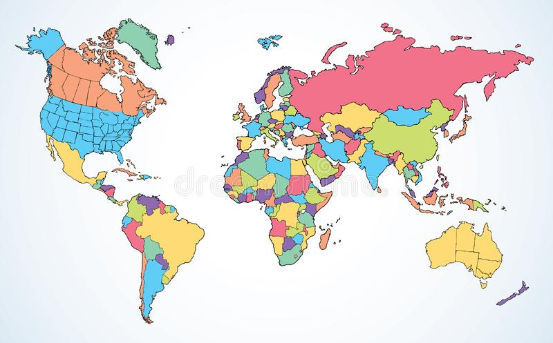 World map. Continents with the contours of the countries. Vector drawing stock illustration