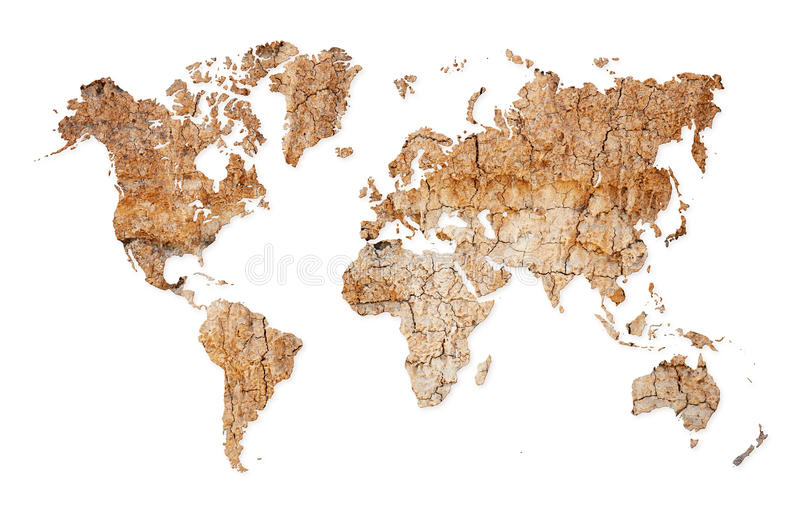 World map - continents from dry deserted soil. Map of the world with continents from dry deserted soil vector illustration