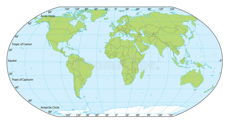 World map with coordinates. Illustrated world map with coordinates in vector. Included present political borders stock illustration