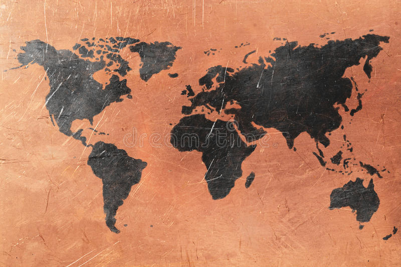 World map. On copper background. Copper and black color stock images