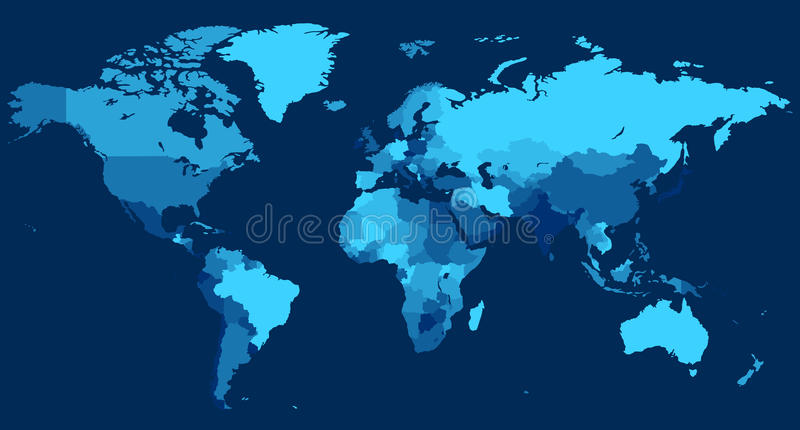 World Map With Countries On Blue Background Stock Photos