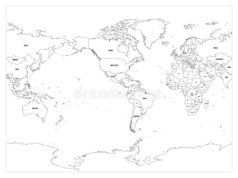World map country border outline on white background with country download world map country border outline on white background with country name labels america gumiabroncs Images