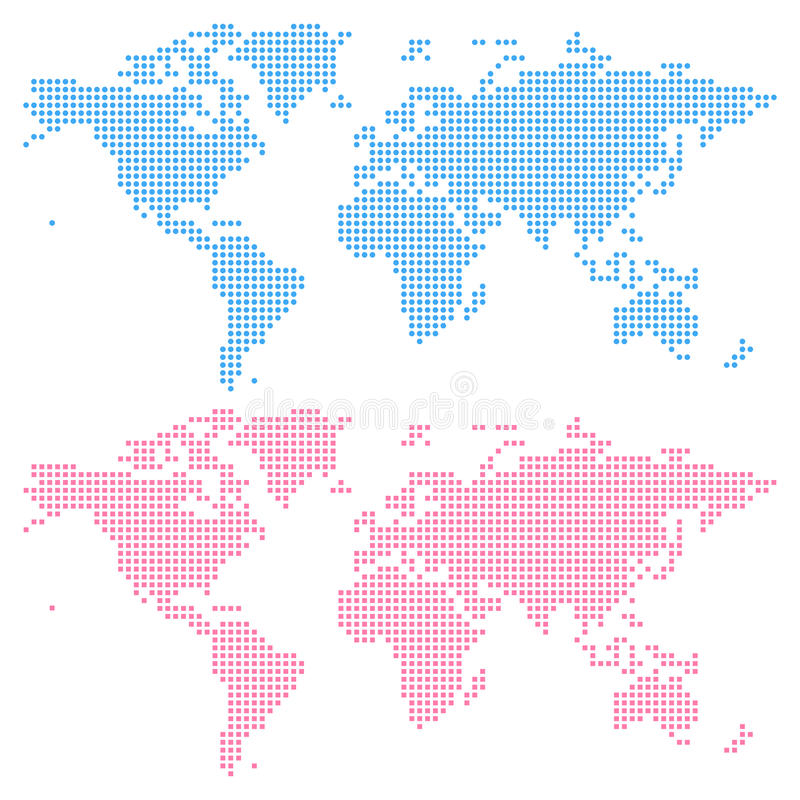 World map created from circles (upper) and squares (lower). Not a pattern. Edit colors easy in one click royalty free illustration