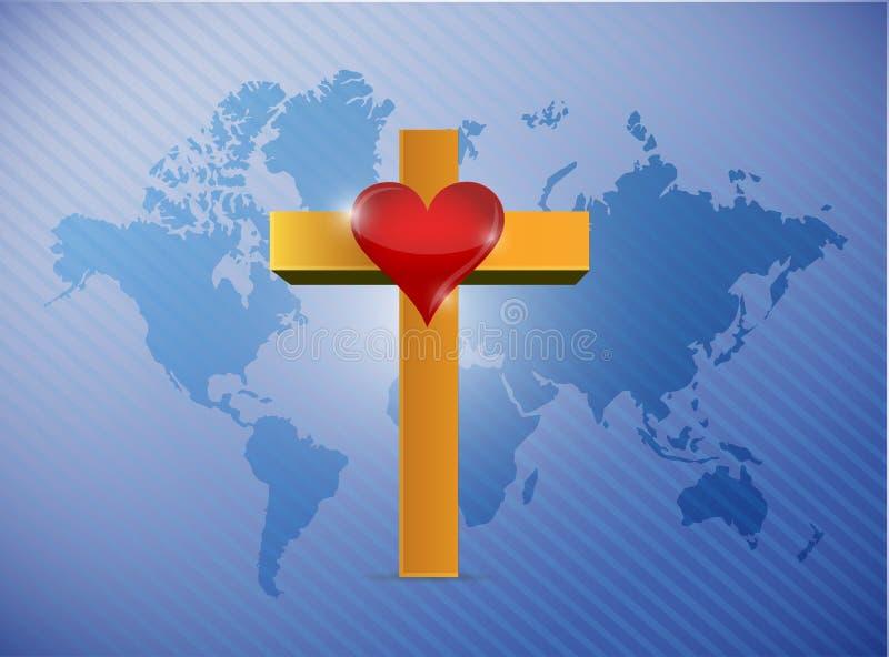 World map and cross illustration design vector illustration