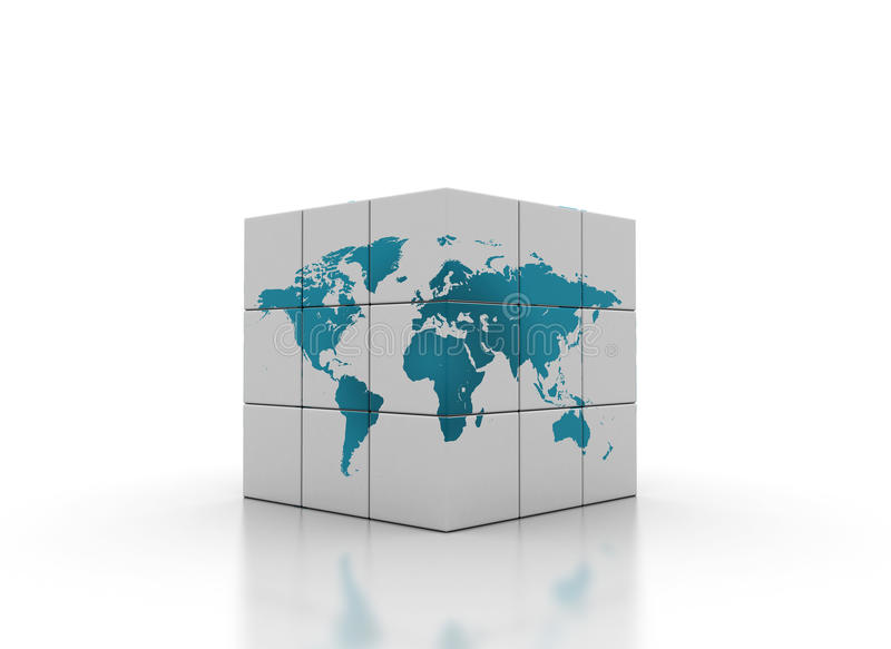 World map cube stock images