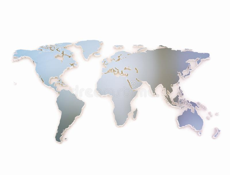 World map 3d Embossed dark blue metallic texture royalty free stock image