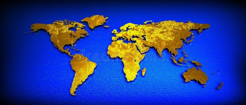 World map 3D gold royalty free illustration