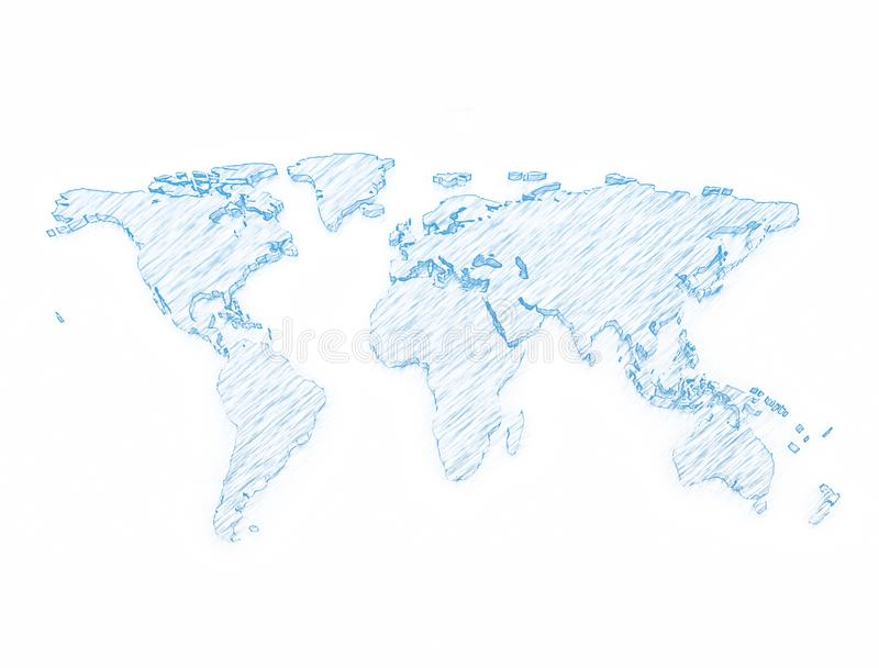 World map 3d pencil sketch stock photography