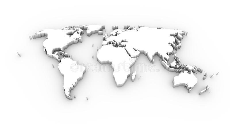 World map 3D white with clipping path vector illustration
