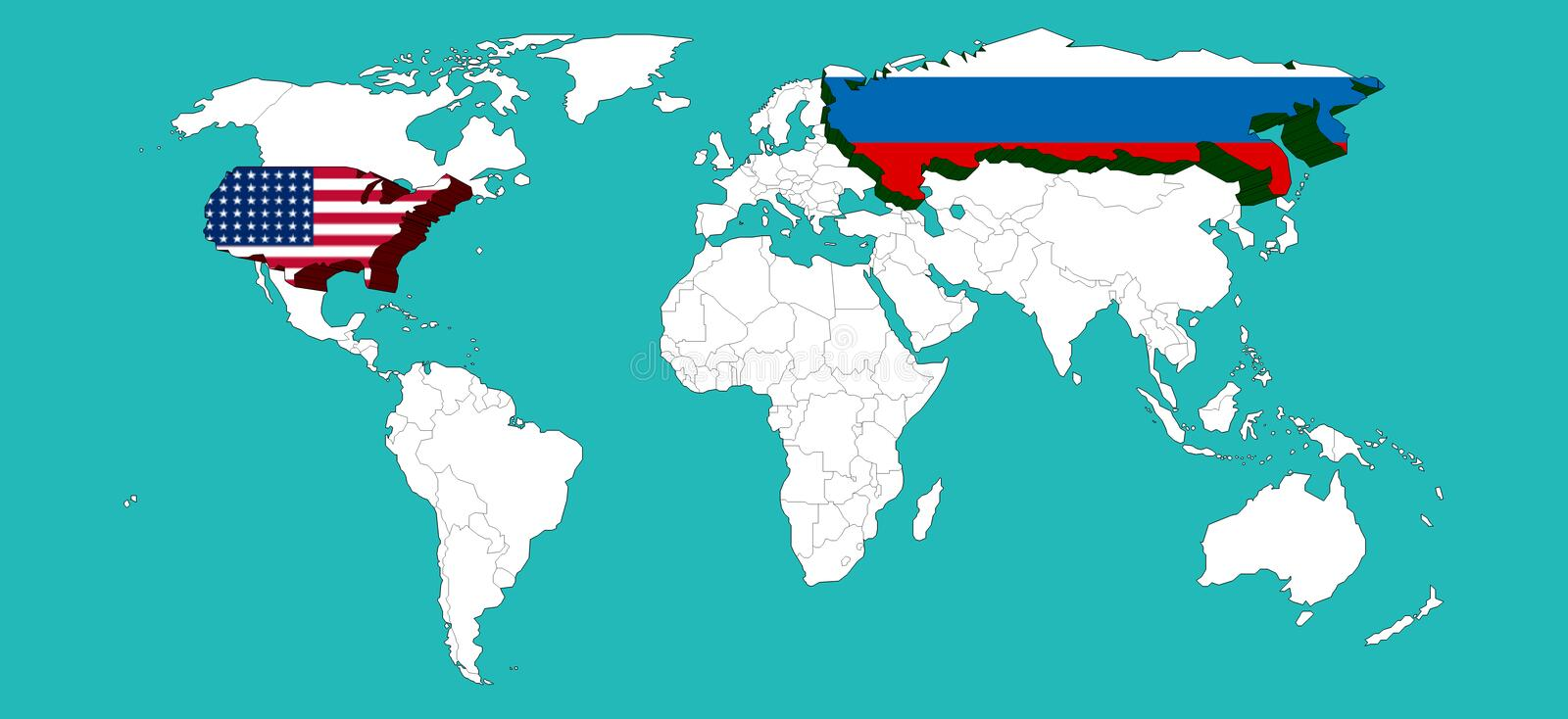 World map decorated usa by usa flage and russia by russia flage download world map decorated usa by usa flage and russia by russia flage elements of gumiabroncs Image collections