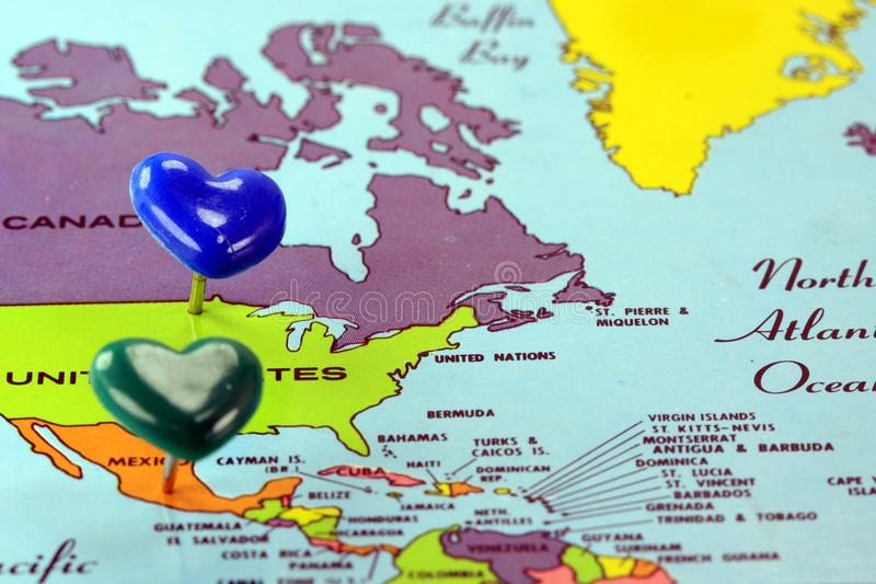 World Map With Destination Pin United States To Mexico Stock Photo - Us map close up