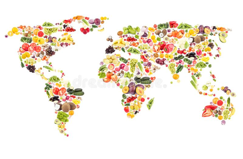 World map from different fresh fruits and vegetables, isolated stock images