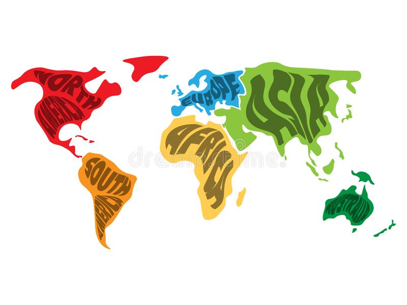 World map divided into six continents. Name of each continent wrapped in. Simplified vector illustration.  stock illustration