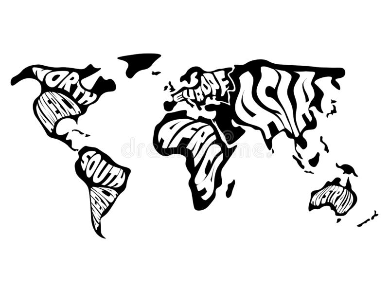 World map divided into six continents. Name of each continent wrapped in. Simplified vector illustration.  vector illustration