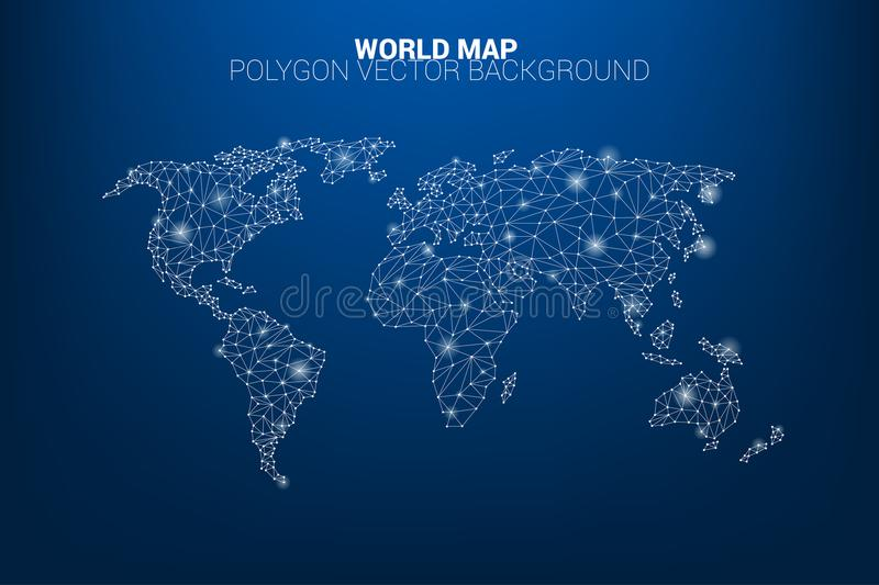 World map dot connection line polygon: concept of digital world, Data connection stock illustration