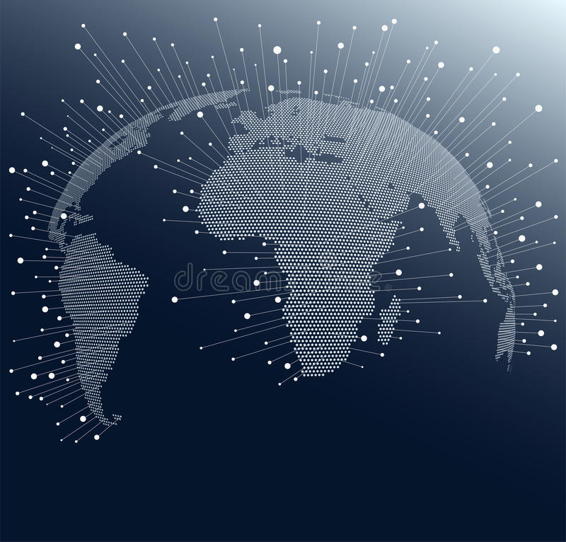 World Map with dots and lines. Global network connections across the globe stock illustration