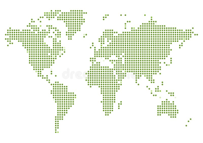 World Map Dotted. Illustrated map of the world made of green dots on a white background royalty free illustration