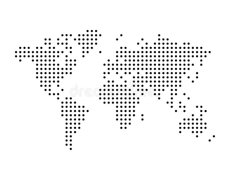 World map drawn with dots, simple black illustration stock illustration