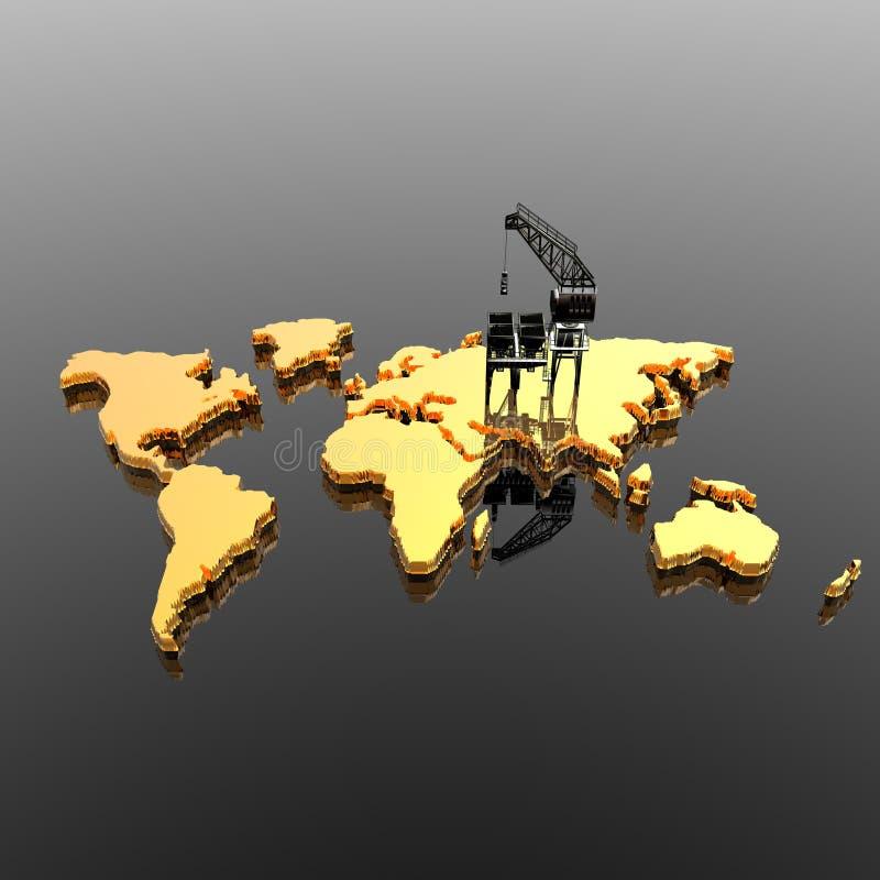 Download World Map With  Drilling Platform Stock Illustration - Illustration: 12932435