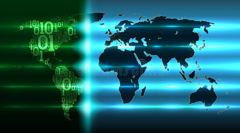 World map of the Earth from a binary code with a background of abstract circuit boards, map evolving digital global technologies. World map of the Earth with royalty free illustration